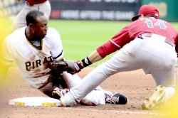 Pittsburgh Pirates Starling Marte Out at Third in Pittsburgh