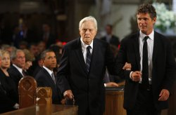 Sargent Shriver attends funeral services for U.S. Senator Edward Kennedy in Boston