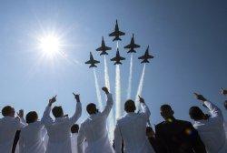 Blue Angles fly over Navy Graduation Ceremony