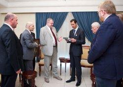 Syrian leader Bashar al-Assad Receives Gift in Damascus