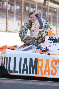 Dan Wheldon Celebrates Second Indy 500 win in Indianapolis, Indiana.