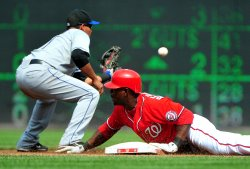 Nationals Roger Bernadina hits a double in Washington
