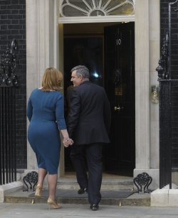 Gordon Brown and wife Sarah return to Downing St for the last time.
