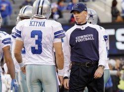 Dallas Cowboys head coach Jason Garrett and Jon Kitna at New Meadowlands Stadium in New Jersey