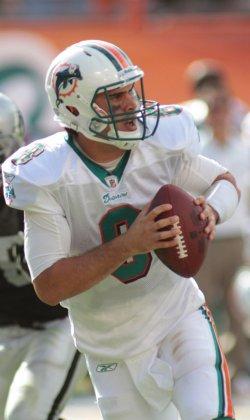 Matt Moore looks for a receiver in Miami
