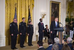 President Trump Honors First Responders who assisted during the Congressional Baseball Practice at the White House