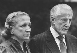 Margaret Truman Daniel and husband Clifton Daniel discuss plans for the funeral of Bess Truman