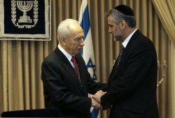 Israel's President Peres meets Shas party members in Jerusalem