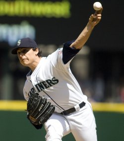 Seattle Mariners' starter Jason Vargas pitches against the Los Angeles Angels.