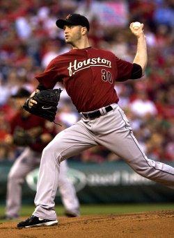 Houston Astros pitcher J.A. Happ pitches