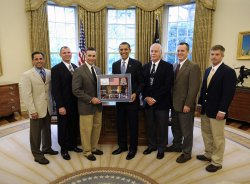 U.S. President Obama meets NASA's STS-119 Crew in Washington