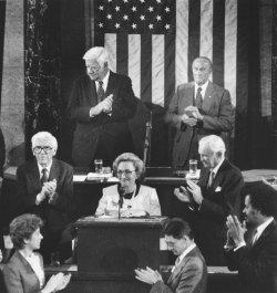 Margaret Truman Daniel addresses a joint session of Congress