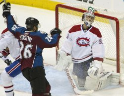 Avalanche Stastny Celebrates After Teammate's Goal Against the Canadiens Goalie Price in Denver