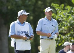 Stricker talks to Johnson on 17th tee at 93rd PGA Championship