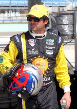 Patrikck Dempsey practices at Homestead, Florida