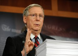 Senate Minority Leader McConnell speaks on healthcare reform on Capitol Hill in Washington