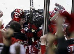 New Jersey Devils Travis Zajac scores the game winning goal in overtime in New Jersey