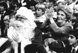Nancy Reagan with Emanuel Lewis on Lap at White House Christmas Party for Children of Diplomatic Corps