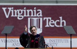 Gov. Mark Warner speaks at Virginia Tech's Commencement in Blacksburgh, Virginia