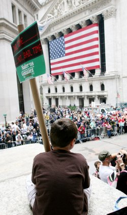 Independent presidential candidate Nader holds rally near the New York Stock Exchange