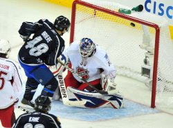 Danny Briere scores during the 2011 NHL All-Star Game