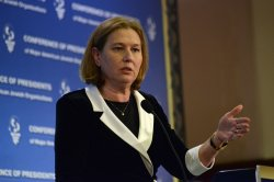 Israeli Justice Minister Tzipi Livni Addresses The Conference Of Presidents In Jerusalem