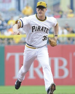 Pittsburgh Pirates Justin Morneau First Out in Pittsburgh