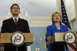 Sec. Clinton and British Foreign Secretary Miliband speak at press conference in Washington
