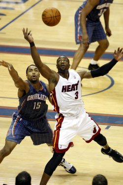 Dwyane Wade in action as the Miami Heat play the Charlotte Bobcats