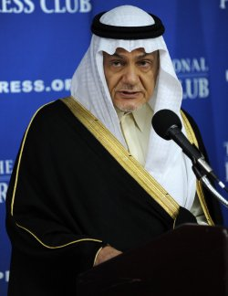 Saudi Prince Turki Al Faisal discusses Middle East issues in Washington