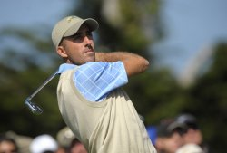 Geoff Ogilvy watches a drive during the second round of the 2009 Presidents Cup in San Francisco