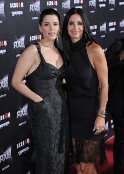 "Neve Campbell and Courteney Cox arrive at the ""Scream 4"" premiere in Los Angeles"