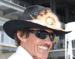 Richard Petty visits the Brickyard 400 in Indianapolis, Indiana.
