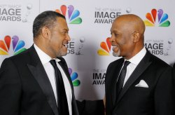 Actor Laurence Fishburne and Actor James Pickens Jr. arrive at the 43rd NAACP Image Awards in Los Angeles