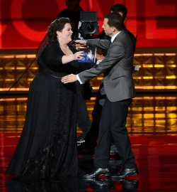 Jon Cryer and Melissa McCarthy attend the 64th Primetime Emmy Awards in Los Angeles