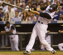 Rockies Helton Hits Solo Home run Against the Dodgers in Denver