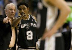 Spurs Head Coach Popovich and Mason Talk in Denver