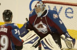 Avalanche Goalie Anderson Warms Up Before Game Six in Denver