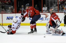 Jose Theodore Makes Save as Chris Neil Goes to the Ice in Washington, DC