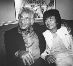 Conductors Leonard Bernstein and Seiji Ozawa hold news conference in Boston