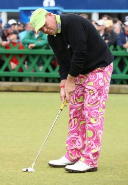Daly practices his putting on the second day of the Open championship.