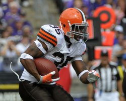 Cleveland Browns' running back Jerome Harrison runs against the Baltimore Ravens in Baltimore