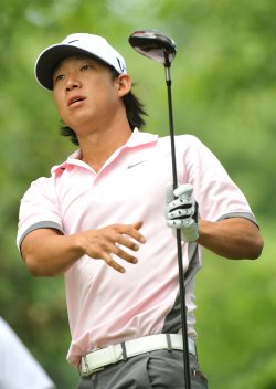 Anthony Kim watches his drive at the US Open in Maryland