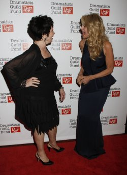Christie Brinkley and Chita Rivera arrive for the Dramatists Guild Fund's 50th Anniversary Gala in New York
