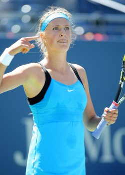 Victoria Azarenka and Johanna Larsson compete at the U.S. Open in New York