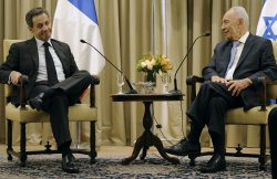 President Shimon Peres meets with Nicolas Sarkozy in Jerusalem