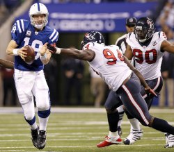 Colts Manning Scramble to Avoid Texans Smith and Williams