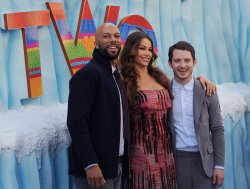 "Common, Sofia Vergara and Elijah Wood pose at the ""Happy Feet Two"" premiere in Los Angeles"