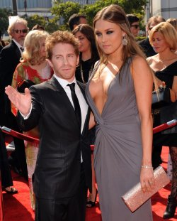 Seth Green and Claire Grant arrive at the Primetime Creative Arts Emmy Awards in Los Angeles
