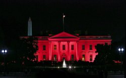 White House is lit up in pink for breast cancer awareness month